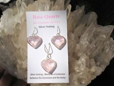 Rose Quartz Heart Pendant+ Earrings Set in Sterling Silver-Gem Quality-Great $$