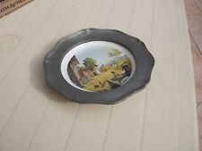 Ancienne assiette décorative Etain et Porcelaine Véritable REVOL France