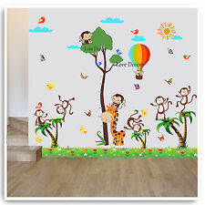 Animal Giraffe Height Chart Wall Stickers Jungle Zoo Nursery Baby Room Decal Art