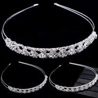 Bridal Wedding Headband Crystal Flower Tiara Pearl Rhinestone Hair Band Clasp
