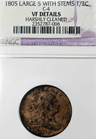1805 VF Details Harshly Cleaned Large 5 With Stems Half Cent 1/2C, NGC Graded!