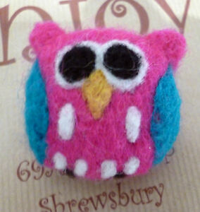 Hand Felted Fair Trade Brooch Bright Pink Felt Colour Owl Ethical Gift Accessory