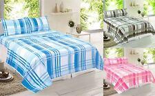 Check Design Brushed Cotton Flannelette Bedding Sheet Set Single Double King