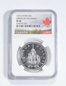 SP68 1976 Canada $1 Silver - Library Of Parliament - Graded NGC *126