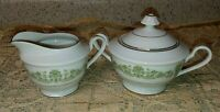 Style House Contessa Creamer & Sugar Bowl + Lid Green Scrolls & Flowers Gold EXC