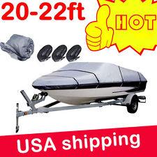 20-22ft Heavy Duty Speedboat Boat Cover Grey Waterproof Match Fish-Ski V-Hull AP