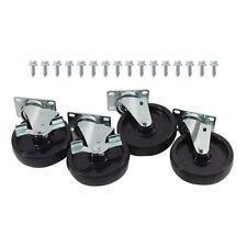 """Caster Set Standard Duty Plate Mount 5"""" Wheel New 35812"""