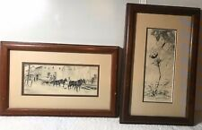 RARE  2 OLDER SIGNED JIM & CONNIE SAVAGE PENCIL ART DRAWINGS FREIGHT'S HERE