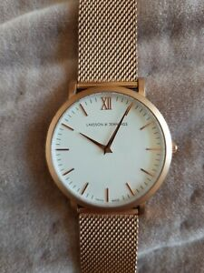 Larsson & Jennings Watch, Women's Lugano Milanese, Rose Gold/White 40mm. Used VG