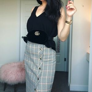 Zara Brown Checked Pencil Skirt Size X SMALL & LARGE BNWT