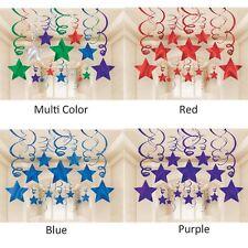 30ct SILVER SHOOTING STARS SWIRL Decorations Graduation-Birthday Party Supplies