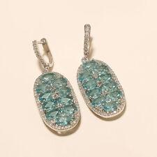 Natural Swiss Blue Topaz Earrings 925 Sterling Silver Women Wedding Jewelry Gift