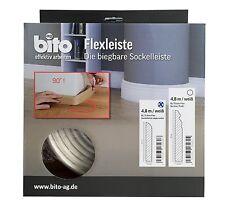 Flexible Sockelleiste biegbare Fußbodenleiste rundes Profil 4,8 Meter weiß