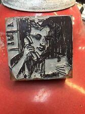 """Vintage Ink Printing Press Stamp Block """" Woman Talking On The Phone """""""