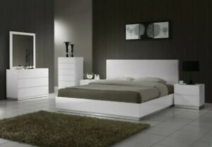4 Pieces Bedroom Set Full Size Glossy White Modern Design Luxury Furniture