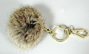 Michael Kors Keychain Fob Fur Pom Ball Gold Tone Metal Over 3 inch Large Puff