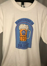 Vintage Pabst Blue Ribbon PBR Beer 'Happiness Is A Cold Pabst' Large T-Shirt