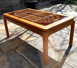 Danish style. retro beech Tiled Coffee Table.