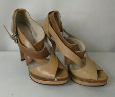 ECHO ITALIA Ladies shoes brown and tan leather strappy platform heels UK size 6