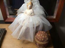 Antique German Porcelain Half Doll w legs, Ballerina Pincushion Collectible Doll