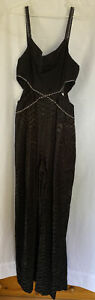 Topshop Ladies Size 6 Black/Diamonte Long Jumpsuit Wideleg BNWT