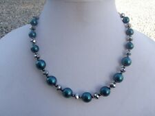 HDMD by Cyndi Necklace of Forest Green Glass Pearls and Silver Metallic Beads