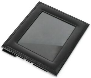 """8x10 Ralph Lauren """"Brogue"""" Black Leather Photo Frame w/ Easel Stand **OPEN BOX**"""