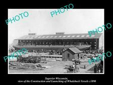 OLD LARGE HISTORIC PHOTO OF SUPERIOR WISCONSIN, THE WHALEBACK BOAT BUILDERS 1890