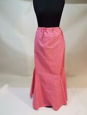 Women spring pink green dots long skirt size L-XL  free shipping