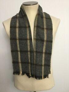 VINTAGE Christian Dior Window Pane Plaid Wool Unisex Scarf HTF Gray