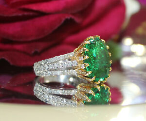 2.85ct Natural Round Diamond 14K Solid White Gold Emerald Wedding Cocktail Ring