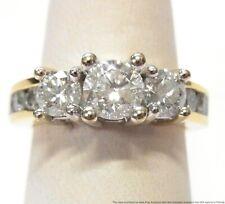 2ctw Round Brilliant Diamond Heavy 14k Gold Ring 3 Stone Engagement Size 6