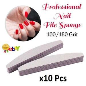 10x Nail Files Double Sided 100/180 Grit File Emery Board Half Moon Set Kit UK
