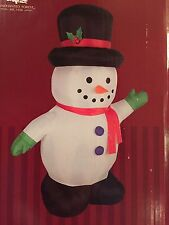 New Christmas Gemmy 5' Waving Snowman with Top Hat LED Airblown/Inflatable Decor