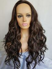 "Beautiful long 28"" tousled wavy brown #6 half wig hairpiece new"