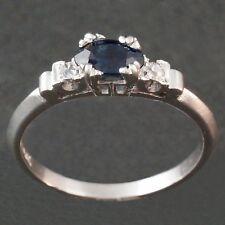 Platinum, Sapphire & Diamond Wedding Engagement Estate Ring