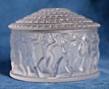 Vintage LALIQUE Made In France LES ENFANTS Roses Lidded Powder Box Jar 11364