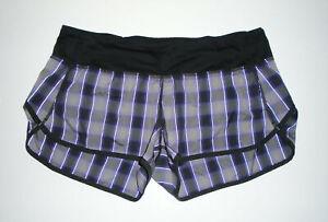 "LULULEMON Running Yoga Mini Shorts RUN SPEED 2.5"" BLACK & PURPLE Plaid Sz 8"