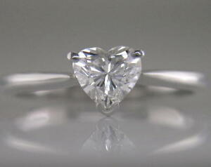 Diamond Engagement Ring Certified 0.70ct Heart Shape H VS2 VG in 18ct White Gold