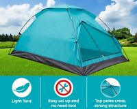 Dome Outdoor Camping Tent for 3 Person w/Carry Bag Light Weight Teal Color