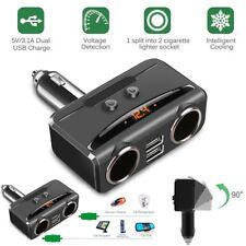 Auto KFZ Ladegerät 2 Steckdose Dual USB Zigarettenanzünder Adapter DC 12V-24V