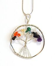 REIKI CHARGED NATURAL CHAKRA CRYSTALS TREE OF LIFE PENDANT WITH SILVER CHAIN