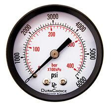 """2"""" Utility Pressure Gauge - Blk.Steel 1/4"""" NPT Center Back 6000PSI"""