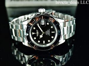 Invicta Men's 40mm Pro Diver SUBMARINER AUTOMATIC BLACK DIAL Silver Tone Watch