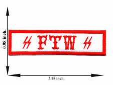 White + Red FTW For The Win Champion Biker Outlaw Applique Iron on Patch Sew