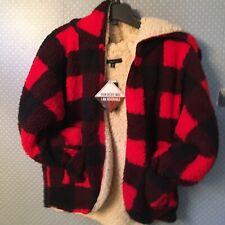 NWT Sweet Rain Women Plaid Reversible Teddy Sherpa Jacket - Trendy Red Soft Hood