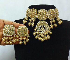 Kundan White Necklace Choker With Pearls Dropping Statement Women Jewelry Set
