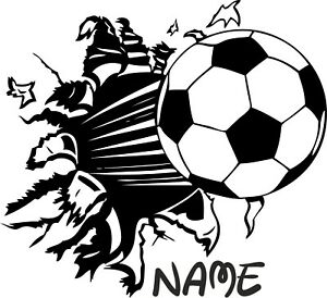 FOOTBALL COMING OUT OF WALL IMAGE VINYL STICKER, DECOR, FOR WALL, WINDOW ECT