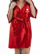 Personalizzato Matrimonio Accappatoio Vestaglia in Rosso o Avorio Sposa Nuziale