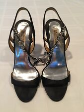 BADGLEY MISCHKA Black Satin Bridal Jeweled Open-Toe High Heels Sandals US Size 8